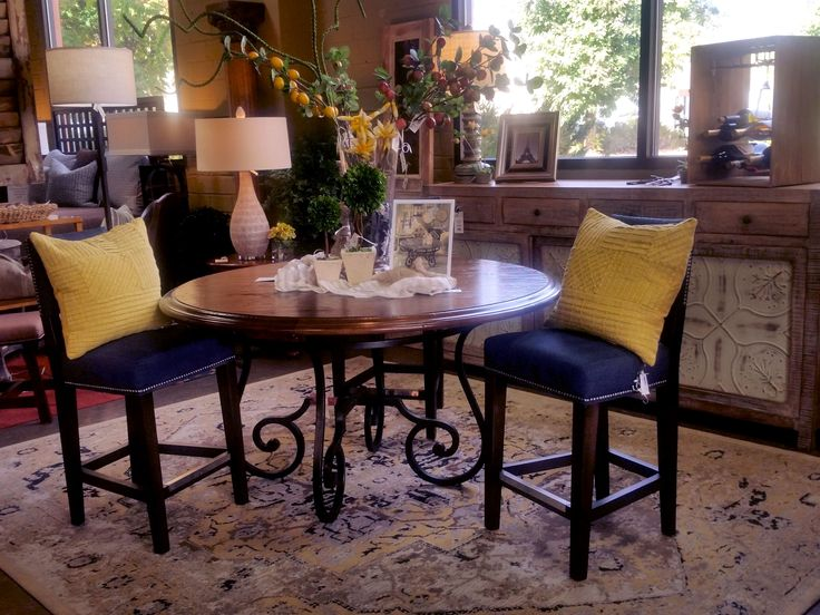 Vanguard Furniture Dining Table; Lee Industries Counter Stools