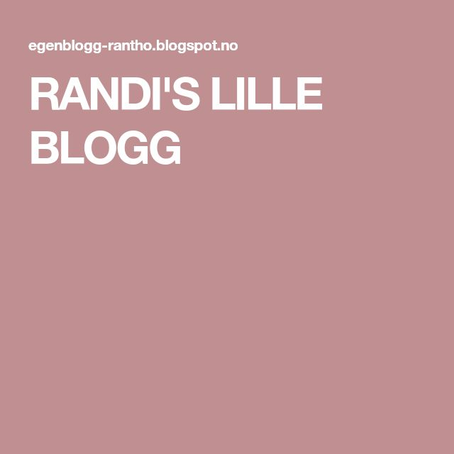 RANDI'S LILLE BLOGG