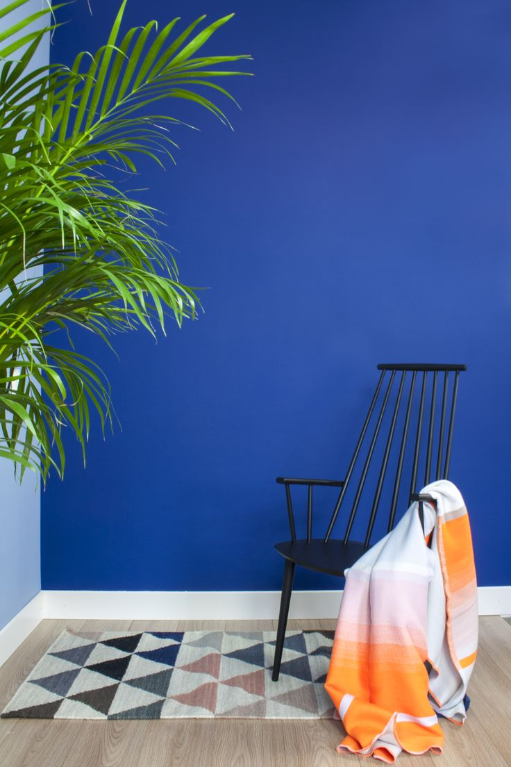 Een heerlijke combinatie van de mooie intense blauw kleur Pank met oranje accessoires! #kleur #interieur #design #woonkamer #duurzaam #fairf #verven #biologisch #woonkameridee #trendkleuren #interieurtrends #design #verf