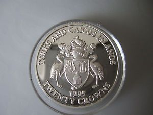 Turks and Caicos 20 Crowns 1995 ve Day 50th Aniversary Proof Silver Obv