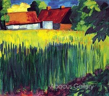 Max Pechstein (1881-1955) was een Duits kunstschilder. Pechstein wordt gezien als een belangrijk vertegenwoordiger van het expressionisme. In 1902 werd hij lid van de later beroemd geworden kunstenaarsgroep Die Brücke.In die tijd bezocht hij vaak samen met Heckel en Kirchner de omgeving nabij Dresden. Net als Schmidt-Rottluff en Nolde werden zij er geconfronteerd met het eenvoudige plattelandsleven, dat sterk hun kleurenpalet beïnvloedde.-1911