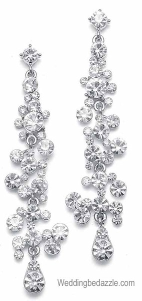 The Mariell bridal party and formal occasion jewelry line features this pair of 3 inch long shimmering clear Austrian crystal earrings. This pair of pierced earrings are available in jet black/hematite, clear, dark amethyst purple or navy blue. Elegant jewelry for weddings, prom, pageants and formal occasions