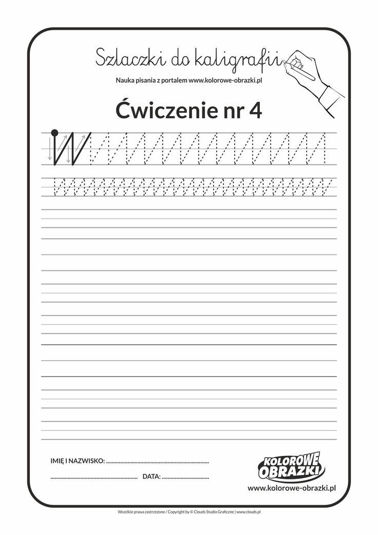 Kaligrafia dla dzieci - Ćwiczenia kaligraficzne / Szlaczki / Ćwiczenie nr 4