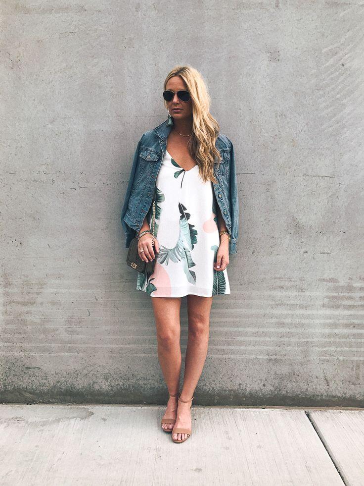 palm print slip dress denim jacket