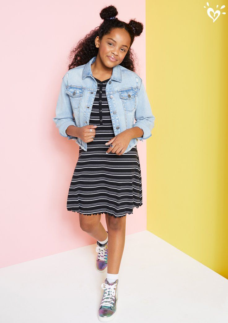 Toss On A Denim Jacket And Some Cool Kicks And Turn A Casual Dress Into A Style Statement In 2020 Girls Fashion Clothes Justice Clothing Outfits Girls Fashion Tween