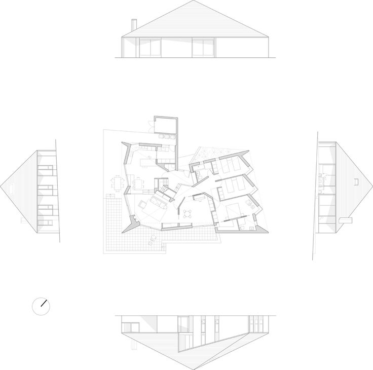 Plan Elevation Section Of Bus Stop : Best images about residential plans sections