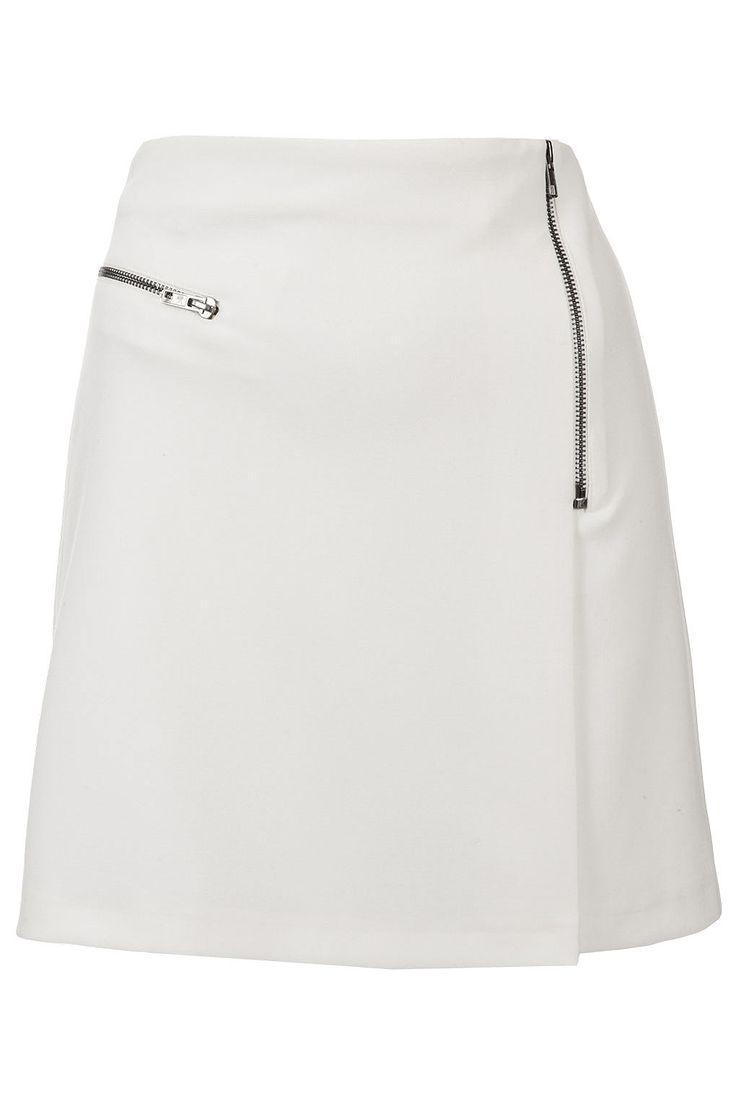White Zip Wrap Aline Skirt yes please! #topshop