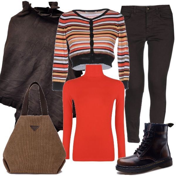 Comodità+e+un+pizzico+di+colore+spendendo+pochissimo.+I+pantaloni+slim+fit+marroni+sono+abbinati+ad+un+dolce+vita+arancio+e+ad+uno+scaldacuore+a+righe.+Sopra+si+consiglia+una+calda+mantella+della+stessa+tonalità+dei+pantaloni,+mentre+le+scarpe+sono+degli+stivaletti+con+i+lacci+e+la+borsa+è+in+tela.