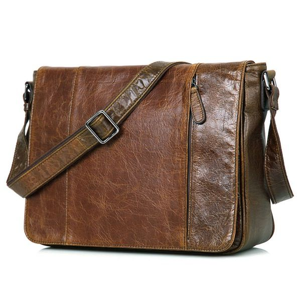 Image of Leather Messenger Bag Laptop MacBook Bag Cow Leather New Year School Bag--FREE SHIPPING