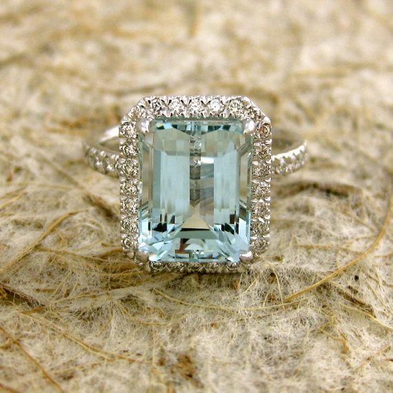 Light Blue Green 4.24ct Emerald Cut Aquamarine 18K White Gold Engagement Ring with Diamonds.
