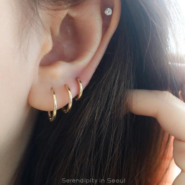 14k Gold Slim Sleeper Hoop Earring In 2019 Jewels Earrings Ear