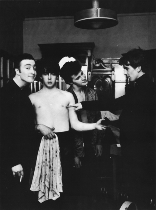"""D'ya think if I just act casual, they won't notice I 'aven't got me shirt on?"" - http://thebeatles-online.blogpsot.com"