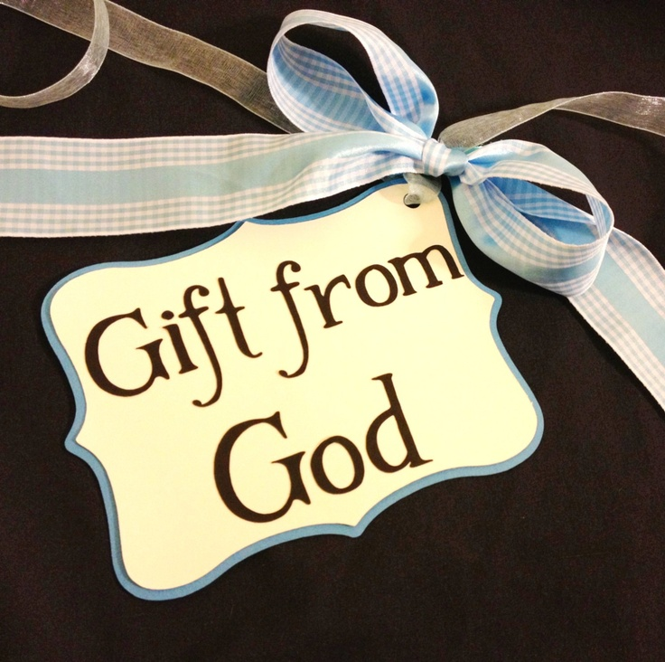 Blue Gingham Gift From God Pregnancy Sash/Photo by DesignsByBS, $8.00