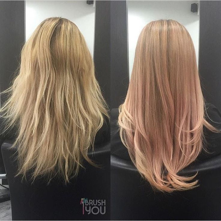 Overtone On Instagram We Are Obsessed With This Subtle Rose Gold Before And After Done By Ibrushyou Rose Gold Hair Blonde Pink Blonde Hair Hair Highlights