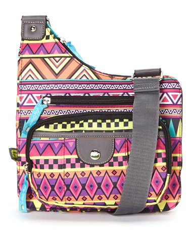 Another great find on #zulily! Tan & Pink Tribute Tribal Crossbody Bag by Lily Bloom #zulilyfinds