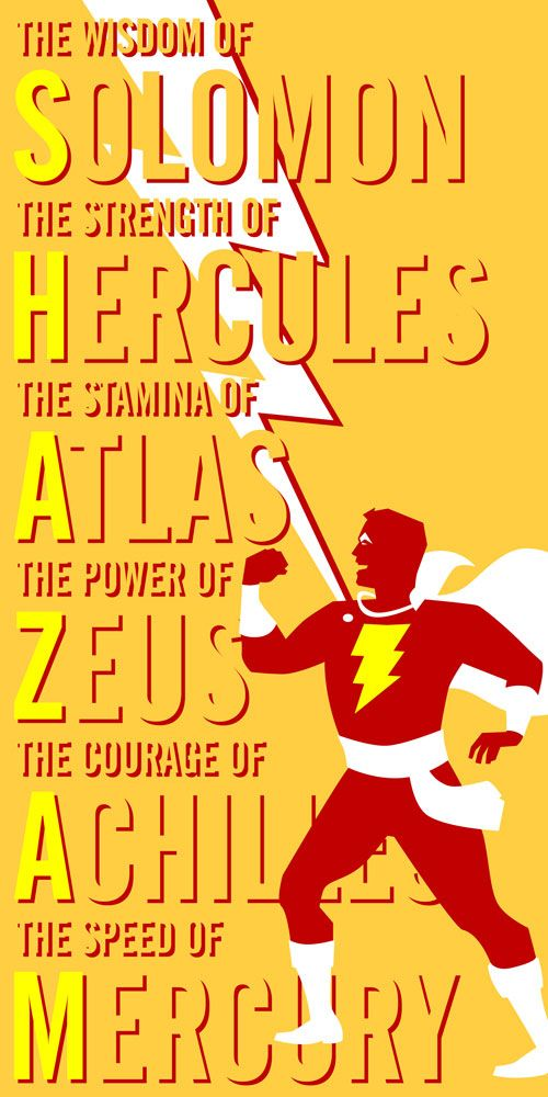 Don't love the poster so much but at least I have something to remind me what Shazam actually stands for...