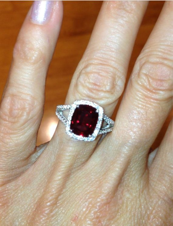 ruby halo engagement ring 14kt white gold by pristinecustomrings - Ruby Wedding Rings