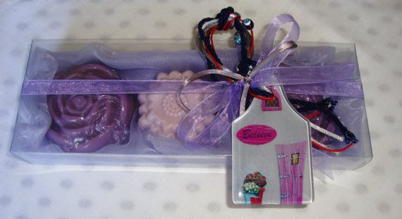 Exclusive Purple Christmas Soaps Gift for your Holiday Shopping! Luxury Purple Christmas Handmade Gift Set with three small purple Glycerin Scented Soaps  in a beautiful raspberry scent and a lovely handmade glass Christmas Charm for Good Luck in the packaging.   An extraordinary, very elegant, stylish gift for Christmas, an excellent Hostess Gift!