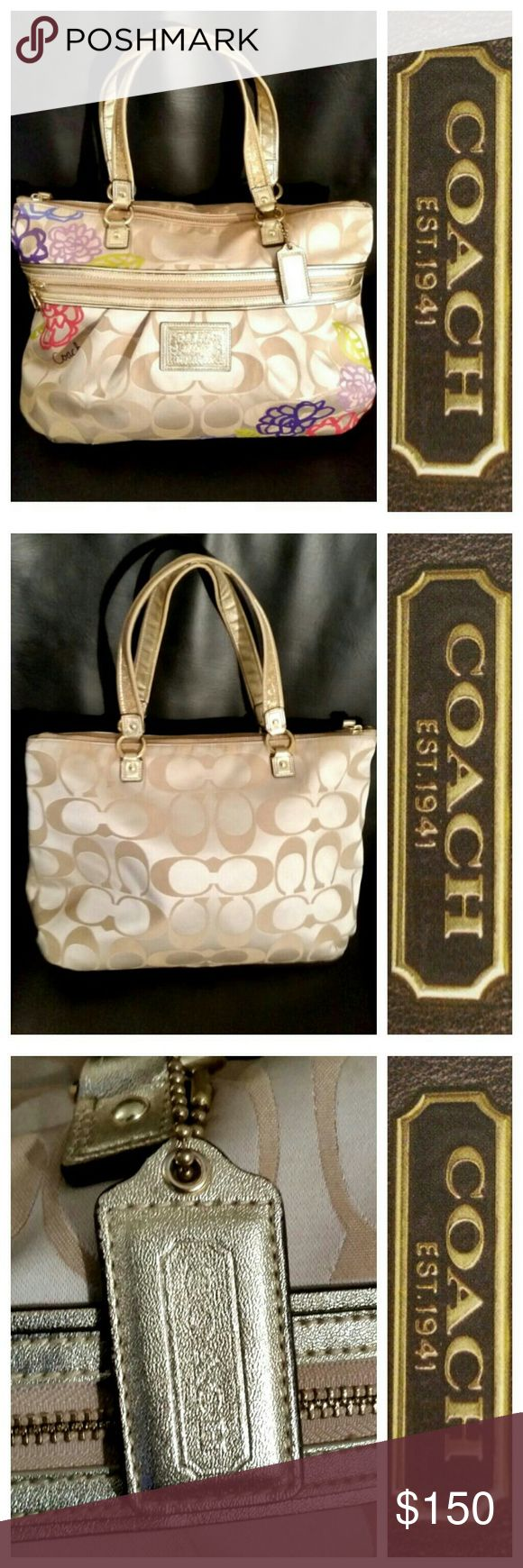 AUTH COACHDAISY APPLIQUE GLAM BAG 🌹SALE!!🌹 Authentic Daisy Applique Glam Coach Tote Bag.  Exterior features beautiful multicolored daisy design. Straps accented in shimmering gold sequence.  Heart shape hardware that is engraved with Coach logo.  The interior features two slip pockets and a zippered pocket.  Preloved in MINT condition.  OFFERS WELCOME!✔ Coach Bags Totes