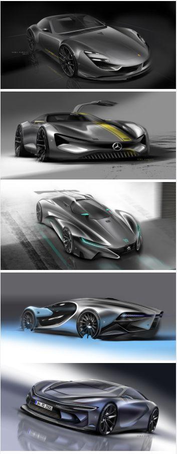 various concept race car design, vehicle automotive rendering transportation design porsche peugeot mercedes and