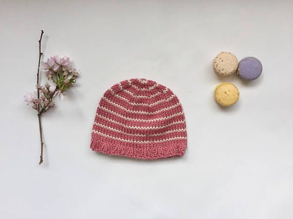 Knitted baby girl hat peach pink baby hat striped baby