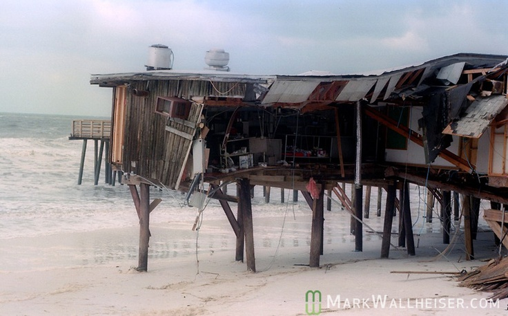 What's left of Pineapple Willies on Panama City Beach, Florida after Hurricane Opal impacted the Florida panhandle as a category three storm when it came ashore near Pensacola, Florida October 5, 1995. Five employees rode out the storm inside as the strongest hurricane of the 1995 season stuck. The tropical cyclone killed 63 people, 13 in the United States.  Hurricane Opal's name was retired the following year.