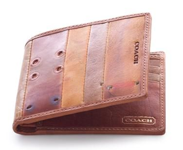 #Coach- Salvaged Baseball glove leather wallet #Mens. Simple bi-fold. No overloading this one.