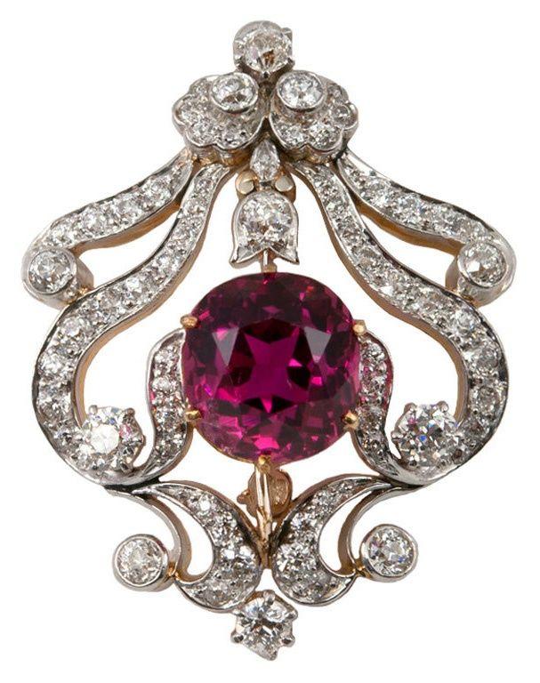 TIFFANY Edwardian Brooch, Pendant. pink tourmaline- Circa 1910.