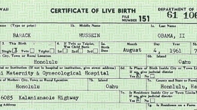 President Barack Obama's birth certificate from Hawaii, released by him in 2011 in response to questions raised by Donald Trump about whether he was born in Kenya. Trump says he remains unconvinced.