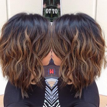 """""""Cut into a long bob and balayaged to break up her black hair color. #balyage…"""