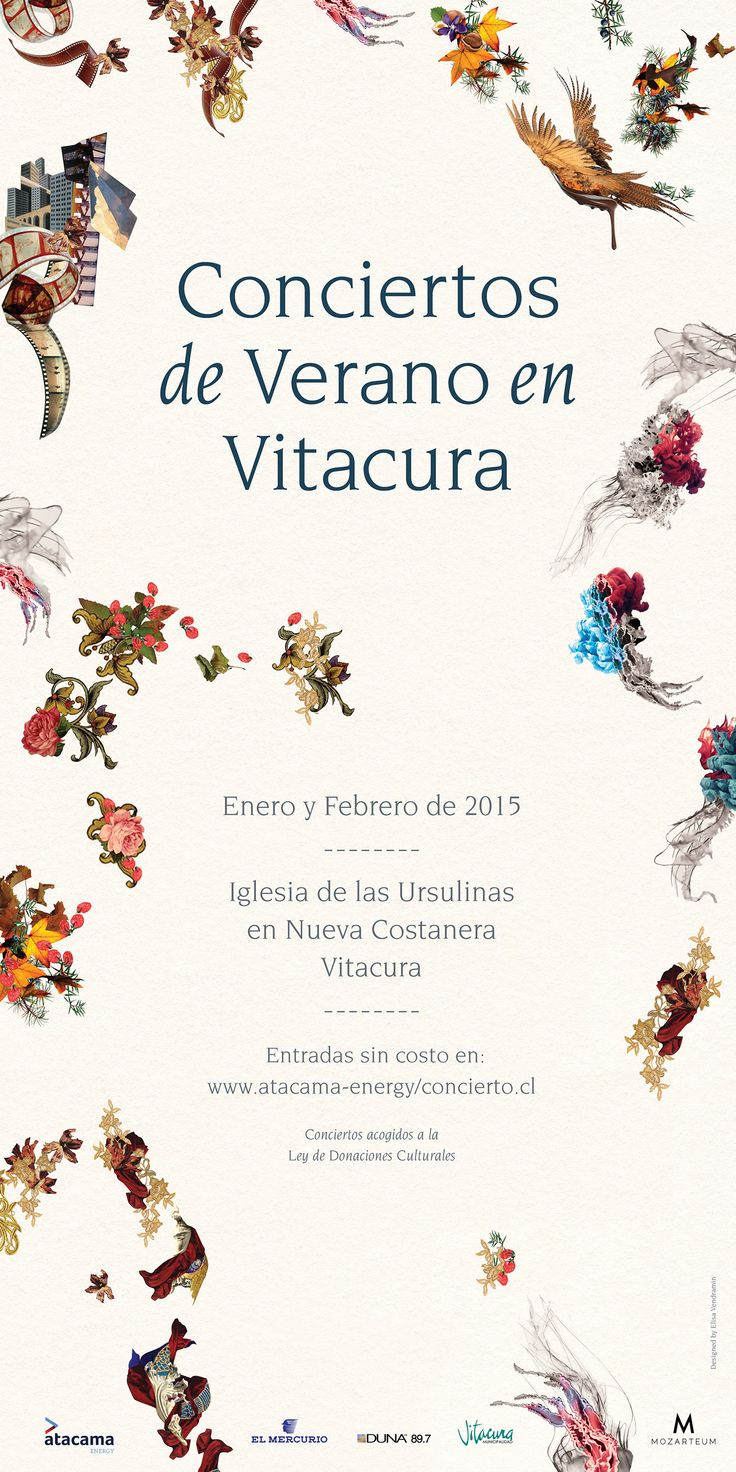Series of posters and ads commissioned by Atacama Invest and Mozarteum Chile, to promote Conciertos de Verano en Vitacura, a classical music festival, held in Santiago, Chile. {February - March 2015}