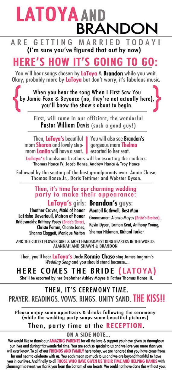 Best 25 Funny Wedding Programs Ideas On Pinterest Favors Favours Useful And Weddings