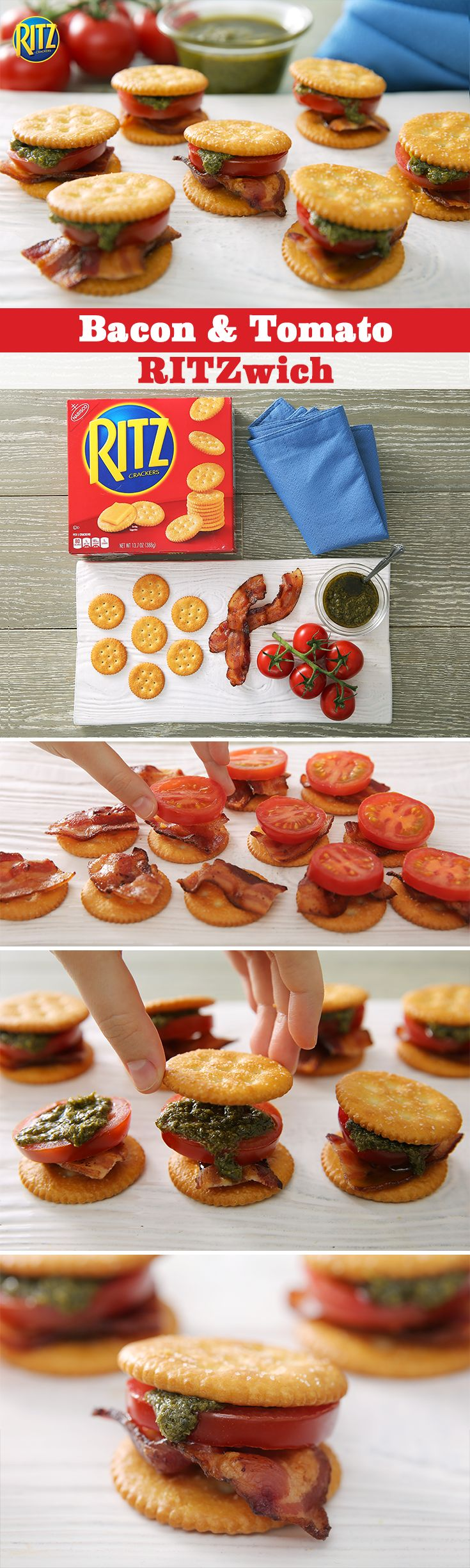 Sure, the kids in your neighborhood can be picky eaters. But one snack they'll never turn down is your famous Bacon & Tomato RITZwich. Stack RITZ Crackers with a bit of bacon, sliced tomatoes and pesto and top them off with one last RITZ Cracker. Happy tummies mean happy kiddies.