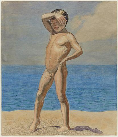 J.F. willumsen 1902 skagen / drengen på stranden / pen and watercolour