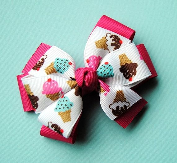 Ice Cream Cone Layered Hair Bow - gotta have cute ice cream hair bows - and SO easy to make yourself!