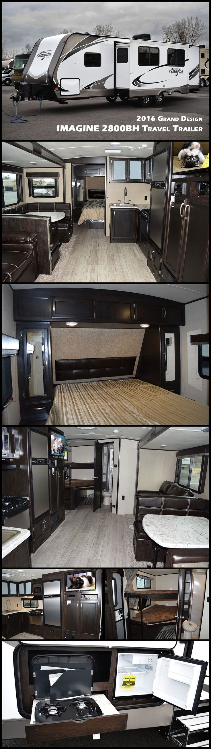 Imagine the fun you will have in this light weight, bunkhouse 2016 IMAGINE 2800BH travel trailer by Grand Design. This camper easily sleeps 10 and provides a wide open floor space thanks to the large slide out. Your whole family will love this bunk house with the double-over-double bunks, large U-shape dinette and comfortable, private master bedroom. The Imagine features an outdoor kitchen and a 21′ awning creating the perfect campsite!