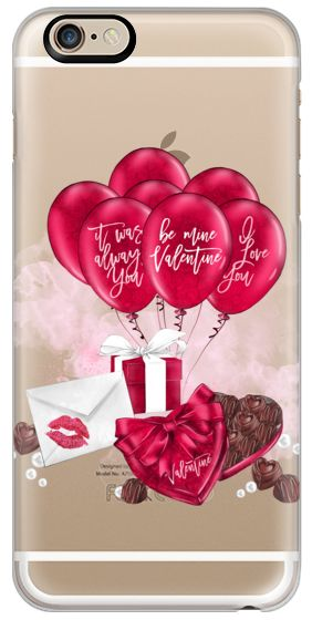 Casetify iPhone 6s Classic Snap ケース - Valentine Romantic Couple Valentines Chocolates Box Balloon Gift Box Love Letter Transparent Watercolor Pink Red Seasonal by Frou Frou Craft #Casetify