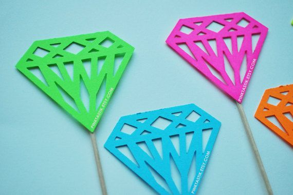 Neon Cupcake Toppers, Neon Party Favors, Neon Birthday, Neon Diamond, Diamond Cupcake toppers, Diamond Theme Party, 80's Neon Party