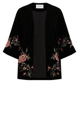 Kimono en velours Femme - Imprimé noir - Vestes / Blousons - Femme - Promod