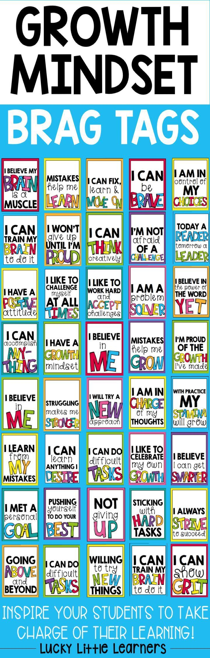 Inspire your students to take charge of their learning with these growth mindset brag tag incentives. Brag tags included: -Willing To Try New Things -Sticking With Hard Tasks -Not Giving Up -Pushing Yourself To Do Your Best -Going Above And Beyond -I Believe In Me -I Can Learn Anything I Desire -I Learn From My Mistakes -I Can Accomplish Anything -I Can Do Difficult Tasks -I Am In Charge Of My Thoughts -I Like To Celebrate My Own Growth -I Like To Challenge Myself At All Times -I Have A G...