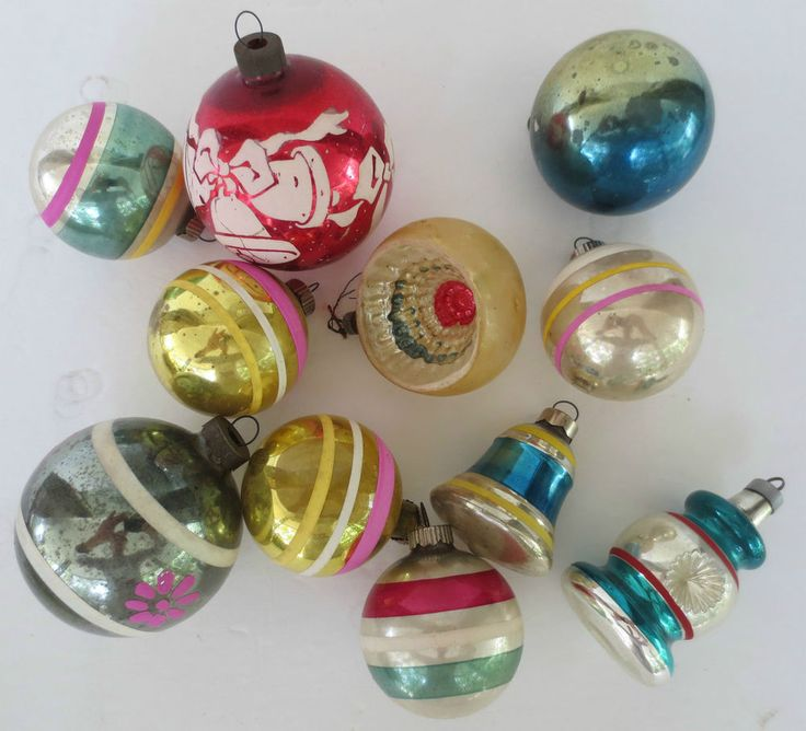 Old Fashioned Glass Christmas Ornaments Part - 21: Vtg 11 Old Shiny Brite Lot Glass Christmas Ornaments Estate Find