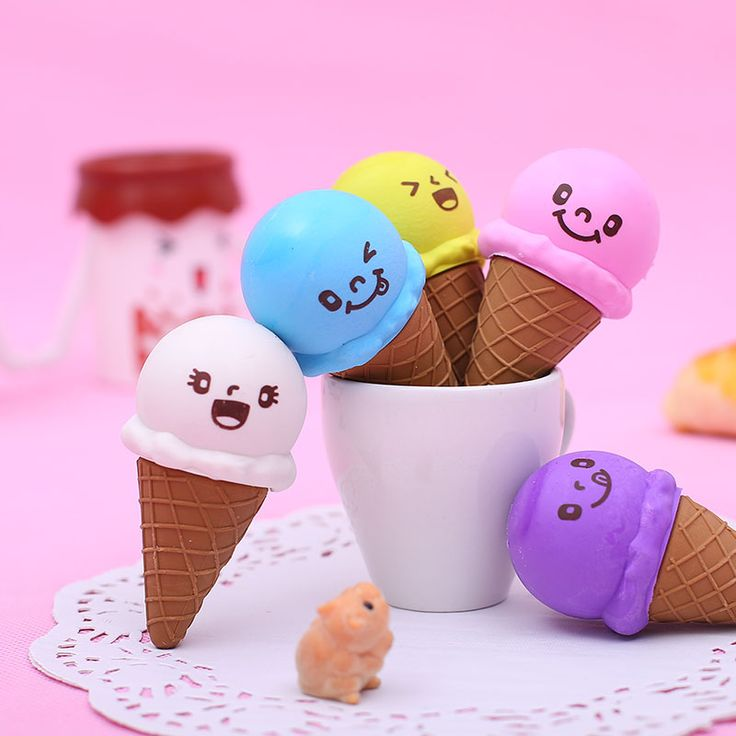 1 x Novelty cute expression Ice cream rubber eraser kawaii creative stationery school supplies papelaria gifts for kids
