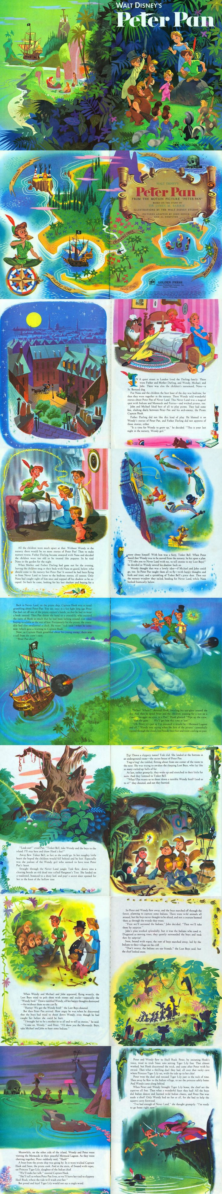 """Walt Disney's """"Peter Pan"""", Illustrated by John Hench and Al Dempster, 1952 ~ (1/2)"""