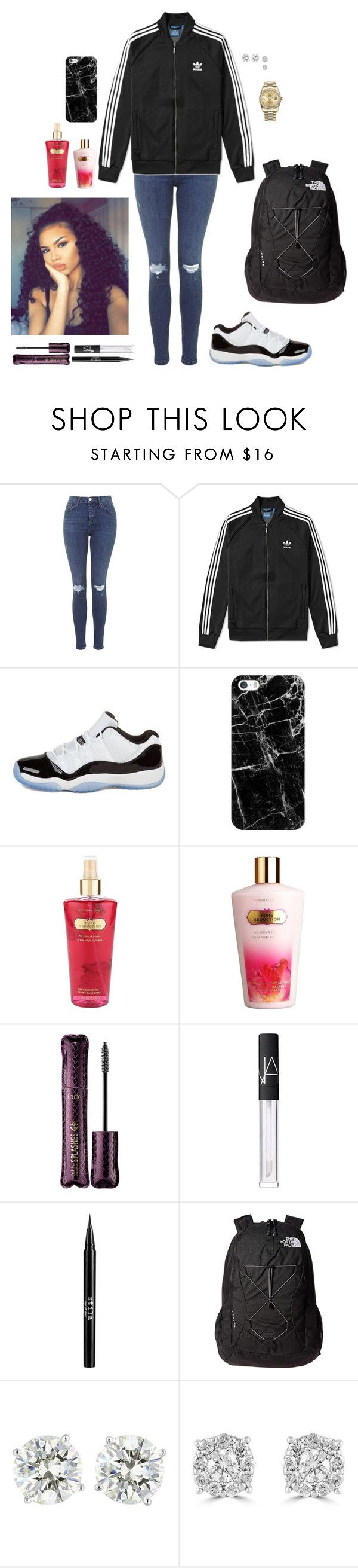 """Wednesday ootd- 1/25/17"" by foxyfries ❤ liked on Polyvore featuring Topshop, adidas, Concord, Casetify, Victoria's Secret, tarte, NARS Cosmetics, Stila, The North Face and Effy Jewelry"