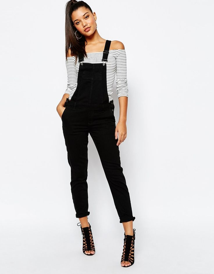Image 1 of River Island Black Dungaree