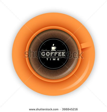 Orange coffee cup on saucer top view vector illustration with lettering Coffee Time.
