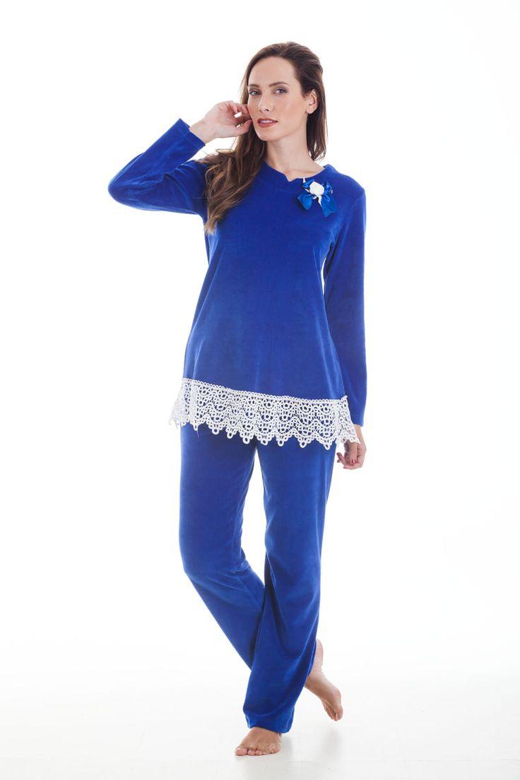 Claire Katrania Homewear Βελουτέ Μπλε Ρουά C-8066 | Tartora.gr