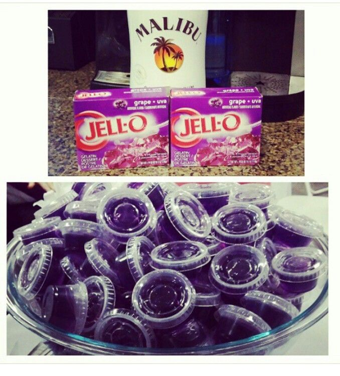 Who doesnt like a jello shot?? These where perfect for the party I bartended at, everyone loved them. They are  easy to make jello shoots. Substitute one cute of water with Malibu, an mix it all up with the hot water and pour in the plastic containers.. an 3 to 4 hours latter they are ready. Not strong they are just perfect.