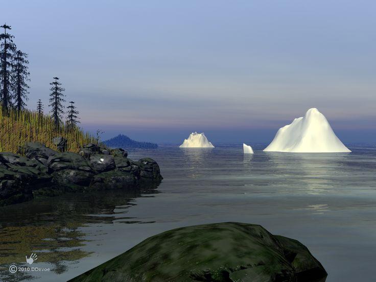 Icebergs off the Newfoundland coast