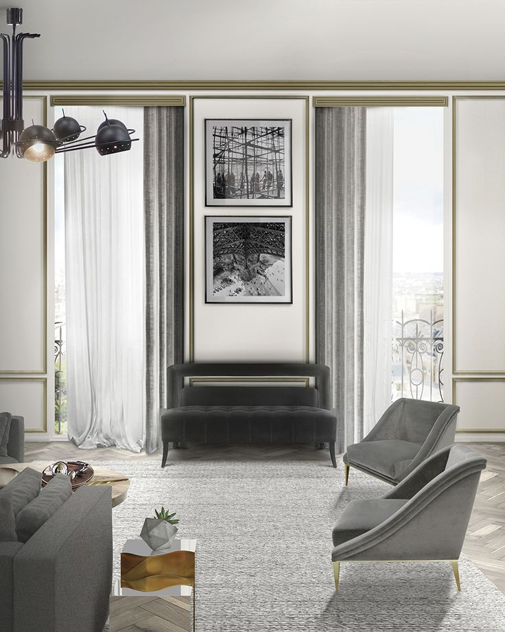 Grey is a stylish color that is both timeless and elegant. NAJ Velvet Sofa pops against the light grey velvet armchairs in a stunning way. | Modern Sofas. Living Room Set. #modernsofas #livingroomset #velvetsofa Discover more: https://www.brabbu.com/en/upholstery/naj-2-seat-sofa/